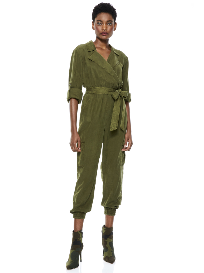 BESSIE NOTCH COLLAR JUMPSUIT - OLIVE - Alice And Olivia