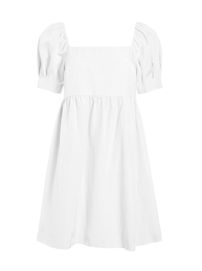 BAUERY PUFF SLEEVE MINI DRESS - WHITE - Alice And Olivia