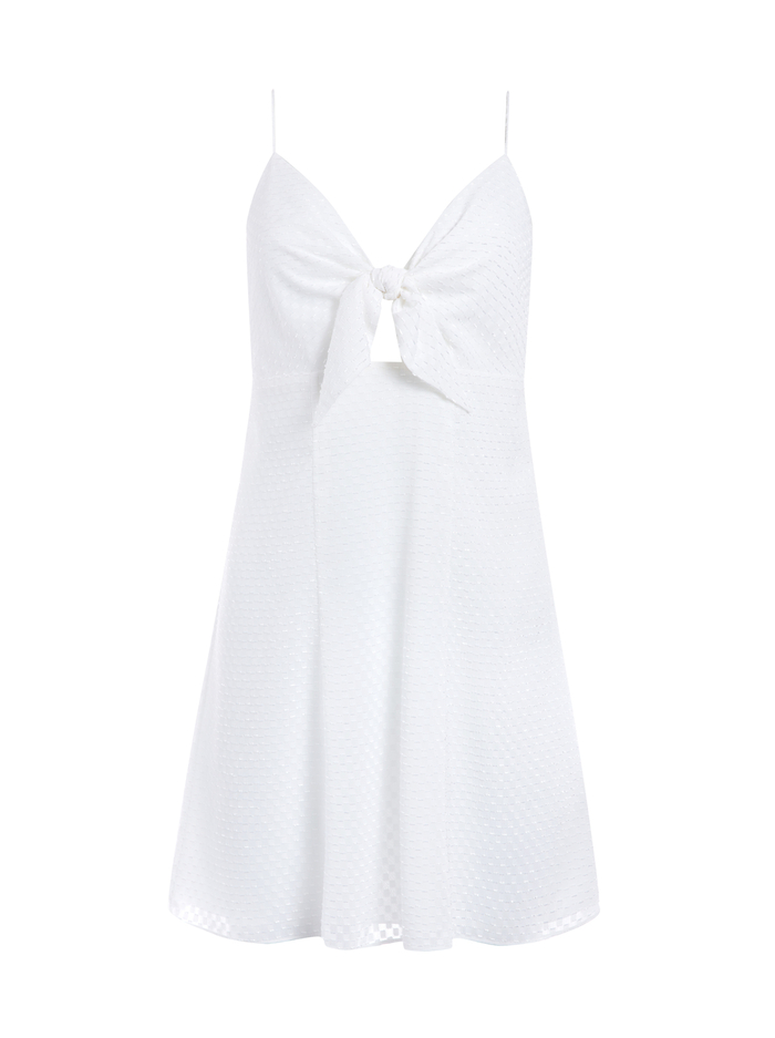 ROE FRONT TIE MINI DRESS - WHITE - Alice And Olivia