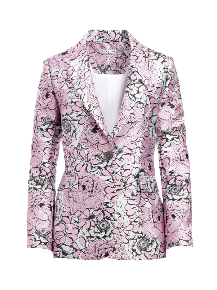 MACEY NOTCH COLLAR FITTED BLAZER - ELECTRIC PINK/MULTI - Alice And Olivia