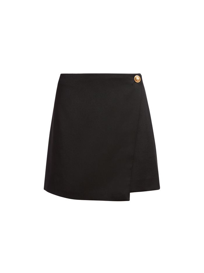 RENNA BUTTON FRONT SKIRT - BLACK - Alice And Olivia