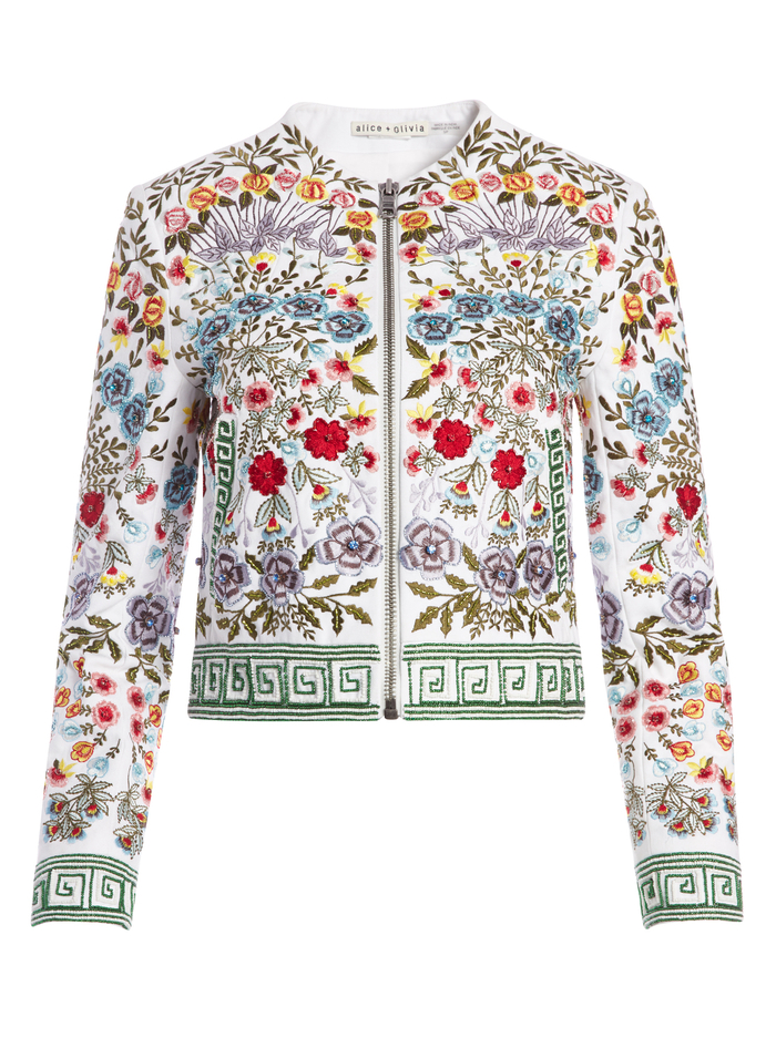 YARDLEY BEADED CROPPED JACKET - WHITE/MULTI - Alice And Olivia