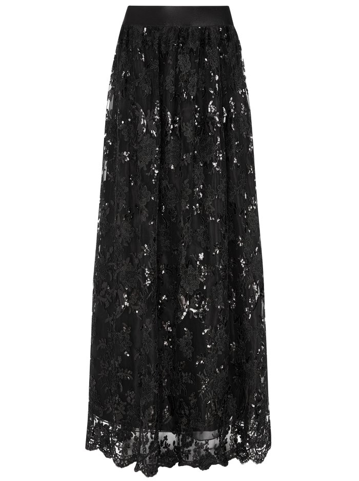 TINA LONG BALL GOWN SKIRT - BLACK - Alice And Olivia