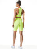 FLORIA CUT OUT CROP TANK - NEON KEYLIME