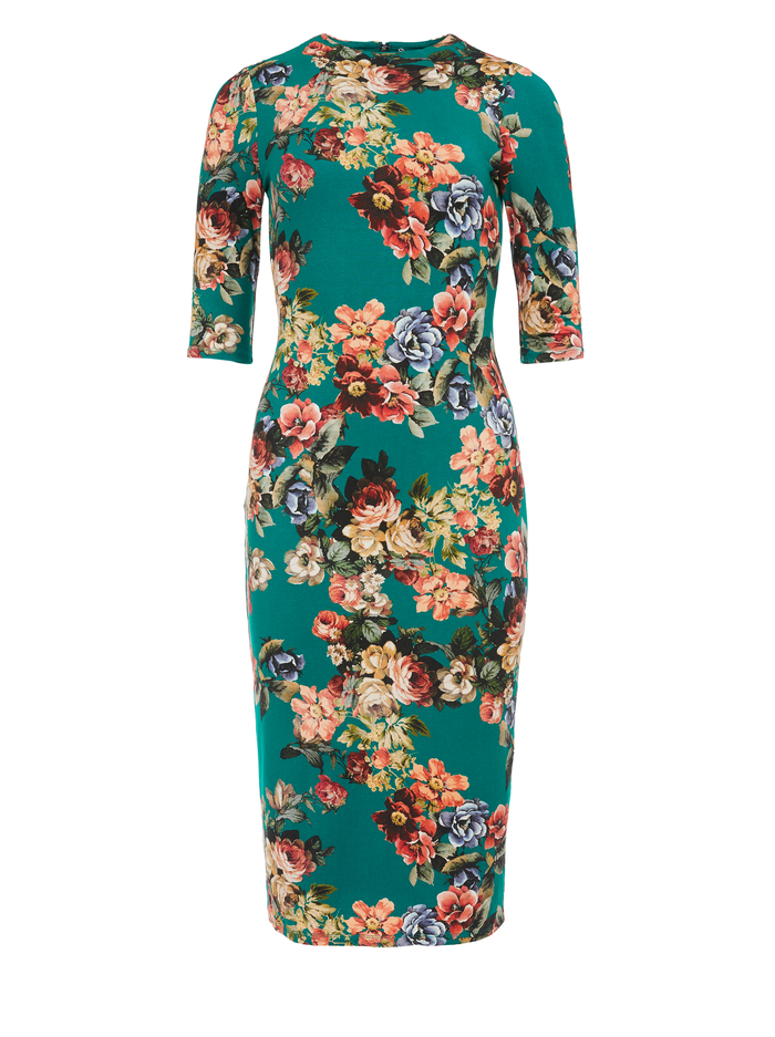 DELORA FITTED MOCK NECK MIDI DRESS  - CLOUD DANCER DARK TEAL - Alice And Olivia