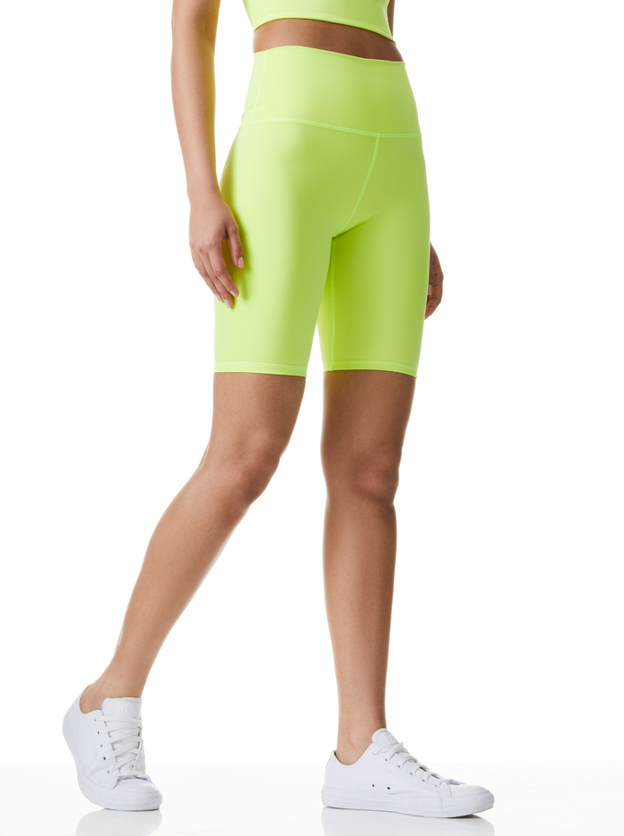 AARON HIGH WAIST BIKER SHORT - NEON KEYLIME - Alice And Olivia