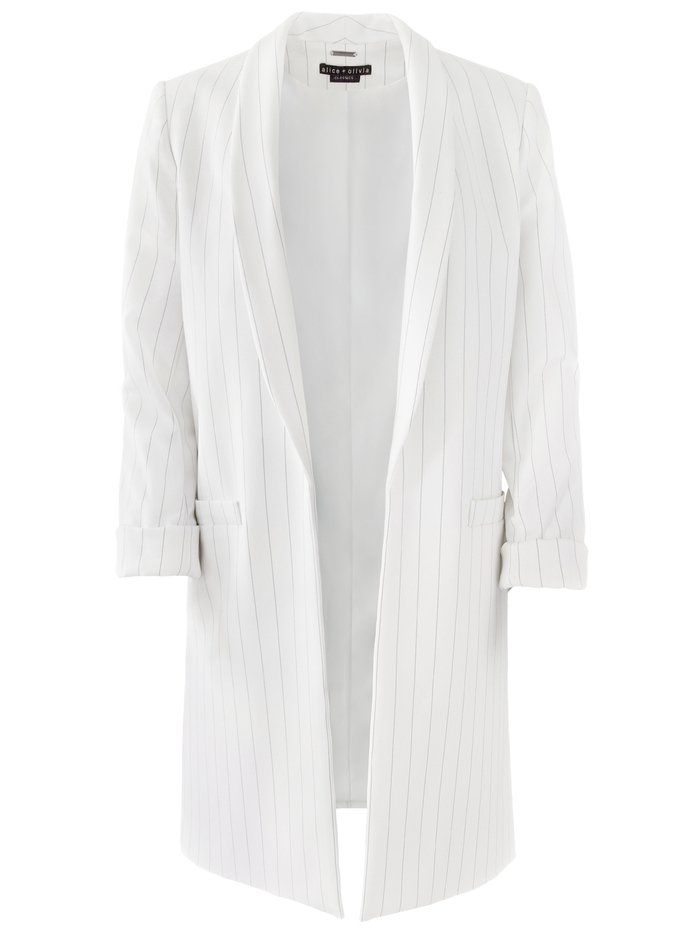 KYLIE EASY SHAWL COLLAR JACKET - WHITE/BLACK - Alice And Olivia