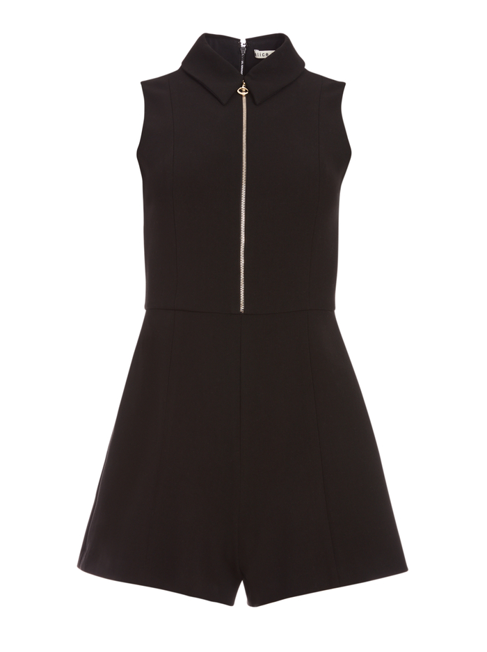 NELSON ZIP FRONT ROMPER - BLACK - Alice And Olivia
