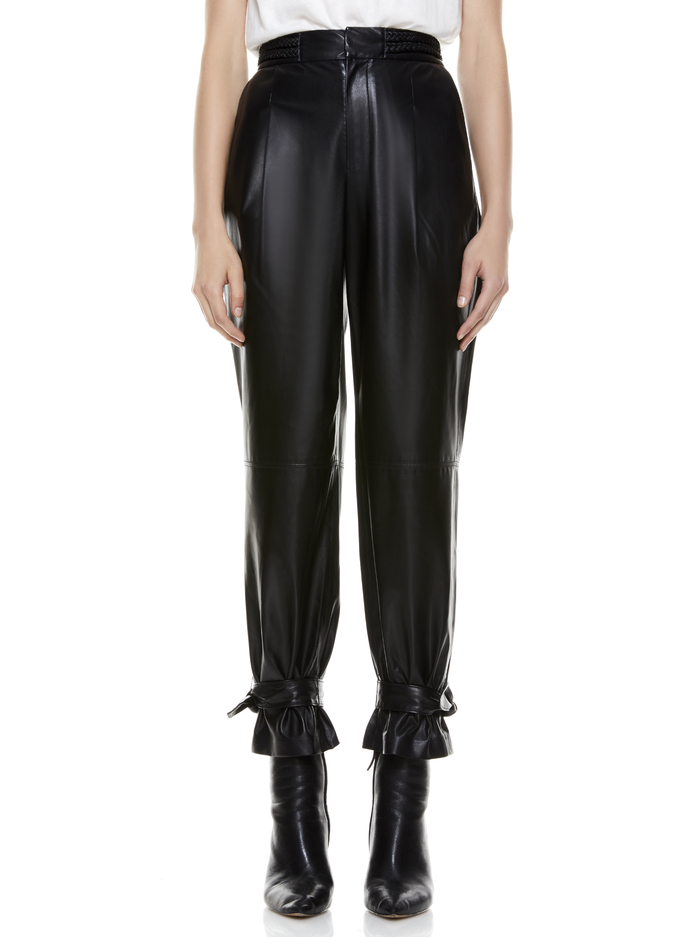 IVETTE LEATHER PANT - BLACK - Alice And Olivia