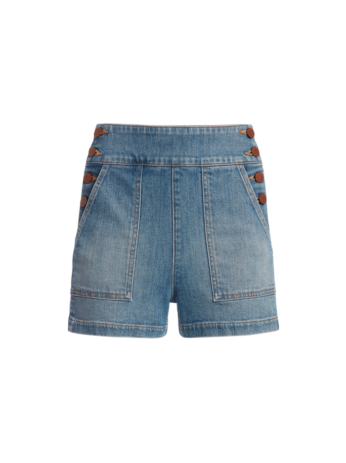 DONALD HIGH RISE BUTTON SHORT - NOT YOURS - Alice And Olivia