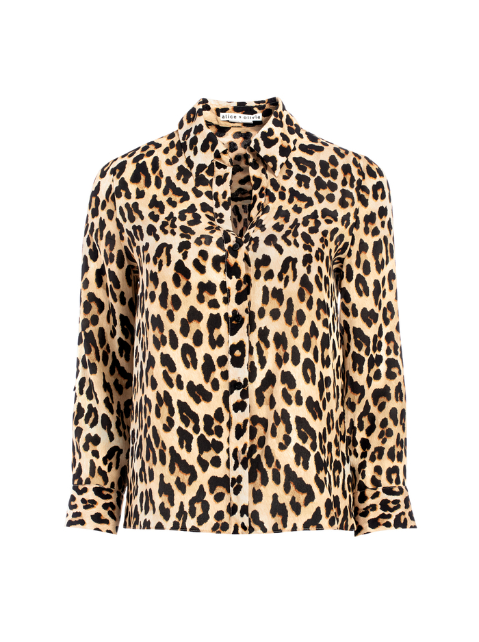 ELOISE BUTTON DOWN LEOPARD BLOUSE - SPOTTED LEOPARD MULTI - Alice And Olivia