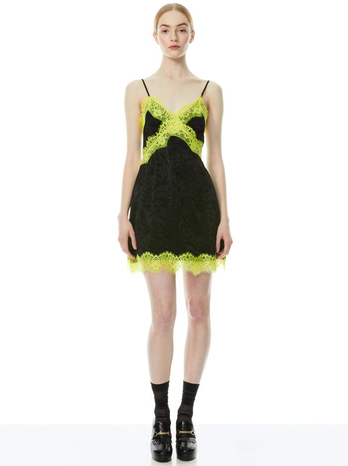 ZAIRA LACE TRIM MINI DRESS - BLACK/LIME PUNCH - Alice And Olivia