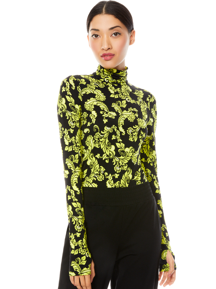 DELAINA TURTLENECK TOP - SHOW ME LOVE LIME PUNCH MULTI - Alice And Olivia