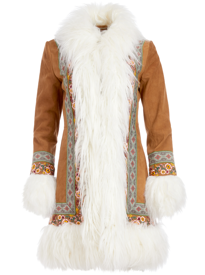 BODIE EMBROIDERED SHEARLING COAT - CAMEL/MULTI - Alice And Olivia