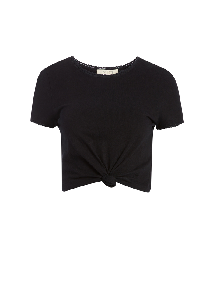 KANE TIE FRONT CROPPED TEE - BLACK - Alice And Olivia