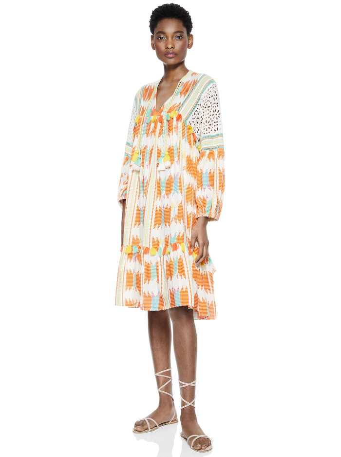 ROSANNE TUNIC DRESS WITH TASSELS - IKAT MULTI - Alice And Olivia