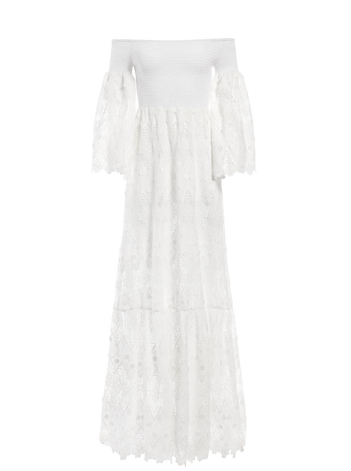 ROSELINE OFF SHOULDER MAXI DRESS - WHITE - Alice And Olivia