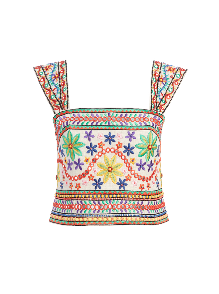 ESME SEQUIN CROPPED TANK TOP - NATURAL/MULTI - Alice And Olivia