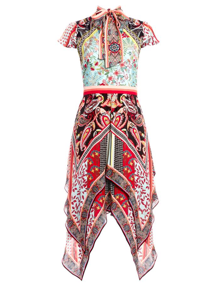TAMARA DRESS WITH TIE NECK - PALOMA MULTI - Alice And Olivia