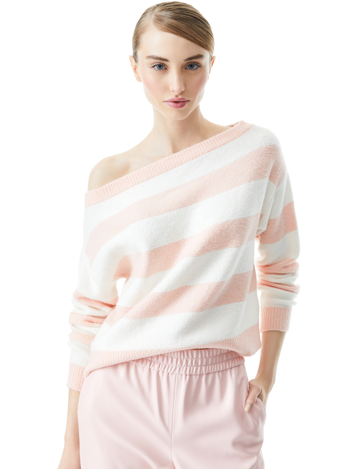 BAUER OFF THE SHOULDER PULLOVER - ENGLISH ROSE/SOFT WHITE - Alice And Olivia