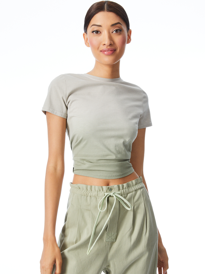 CINDY OMBRE CLASSIC CROPPED TEE - SAGE - Alice And Olivia