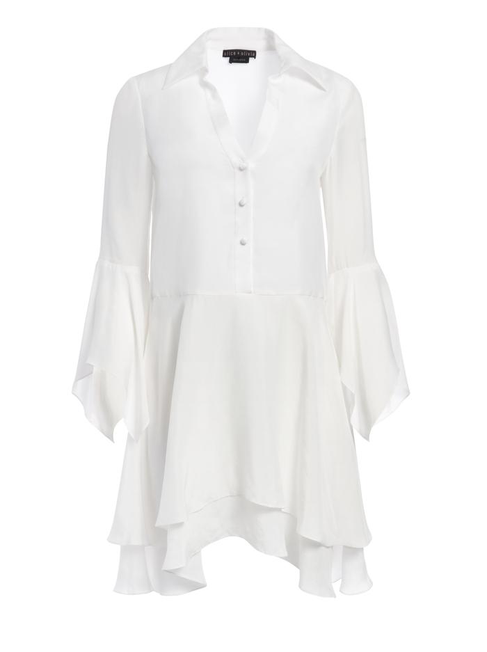 PRISCILLA BUTTON DOWN MINI DRESS - OFF WHITE - Alice And Olivia