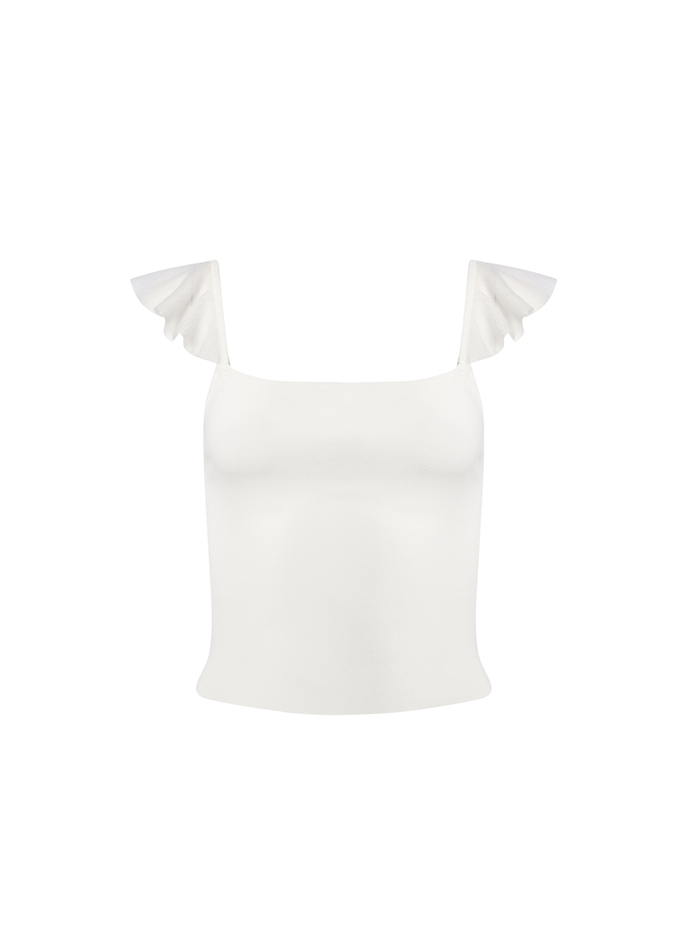 MARG RUFFLE STRAP CROP TOP - OFF WHITE - Alice And Olivia