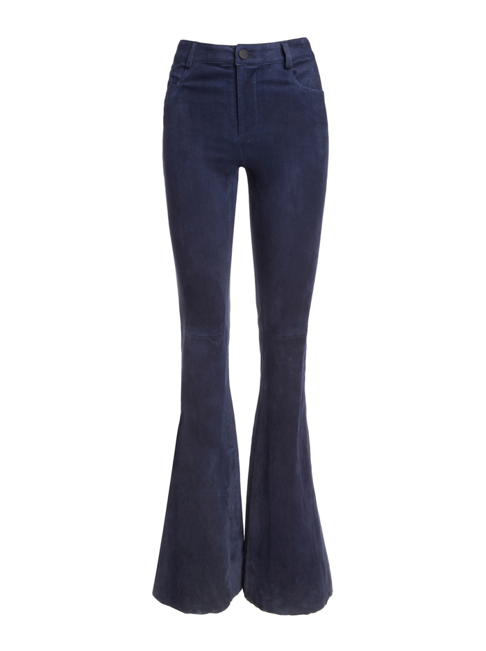 SUEDE BELL PANT - NAVY - Alice And Olivia