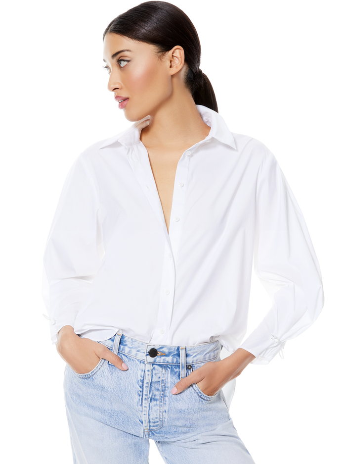 WES PLEATED SLEEVE BUTTON DOWN - WHITE - Alice And Olivia