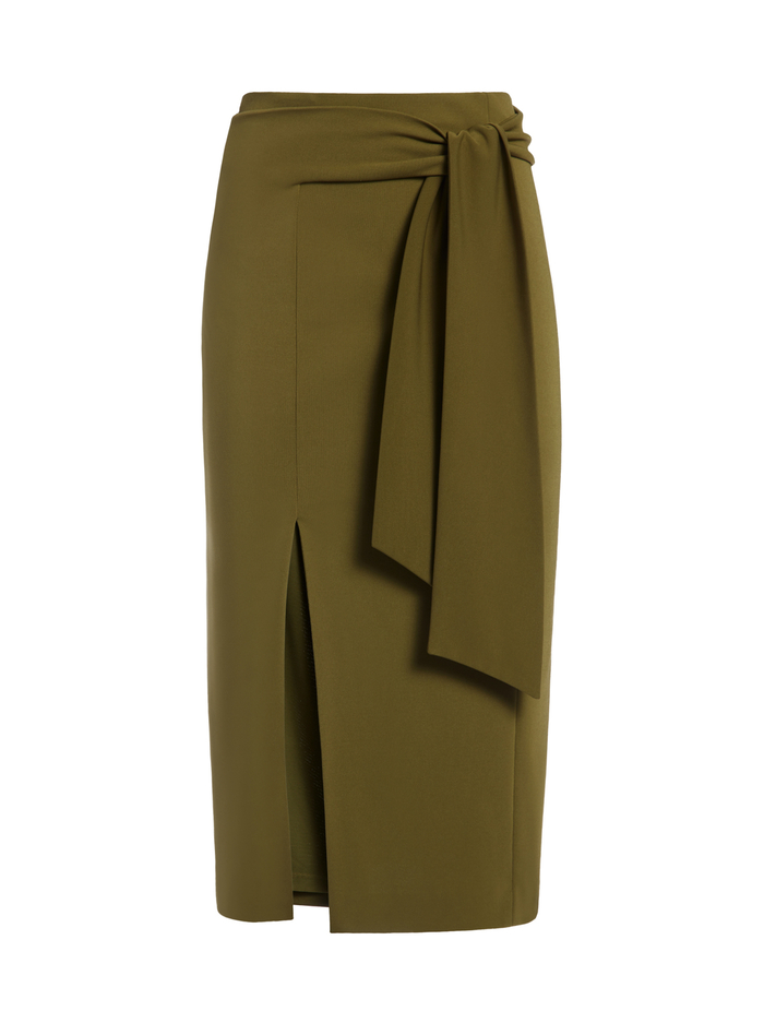 RIVA MIDI SKIRT WITH TIE - OLIVE - Alice And Olivia