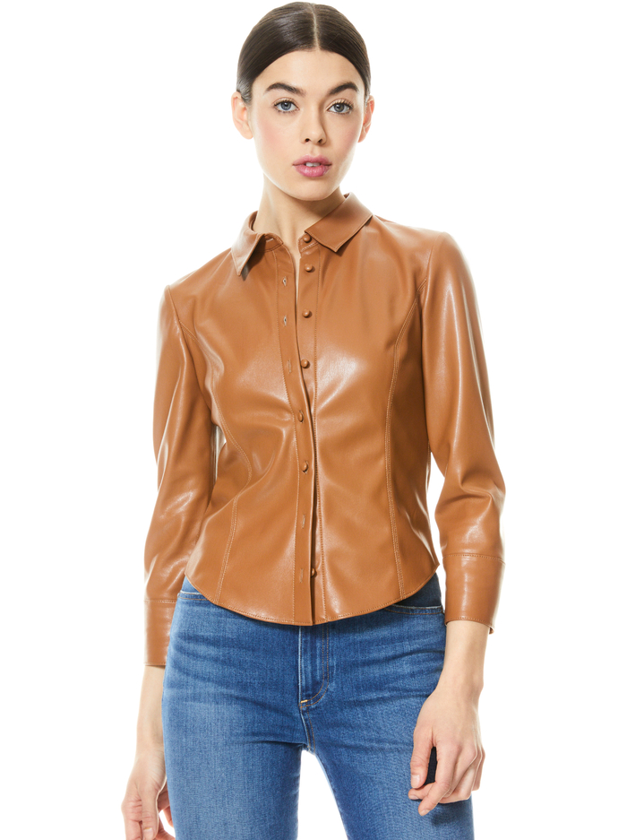 NADINE VEGAN LEATHER BUTTON DOWN - CAMEL - Alice And Olivia