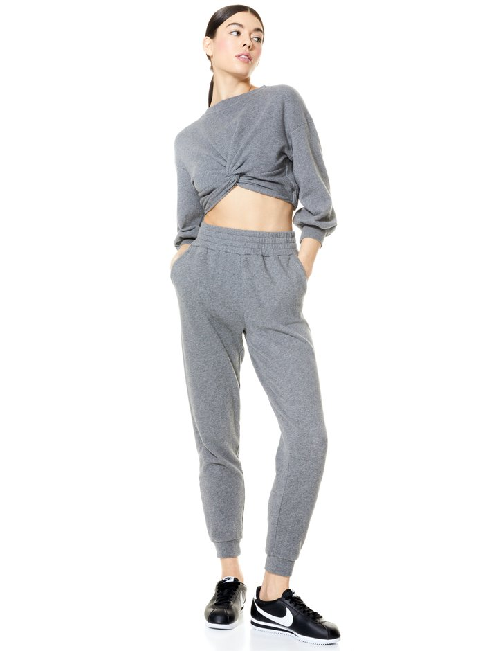 MARCELLE TWIST FRONT CROP TOP + NYC SLIM JOGGER -