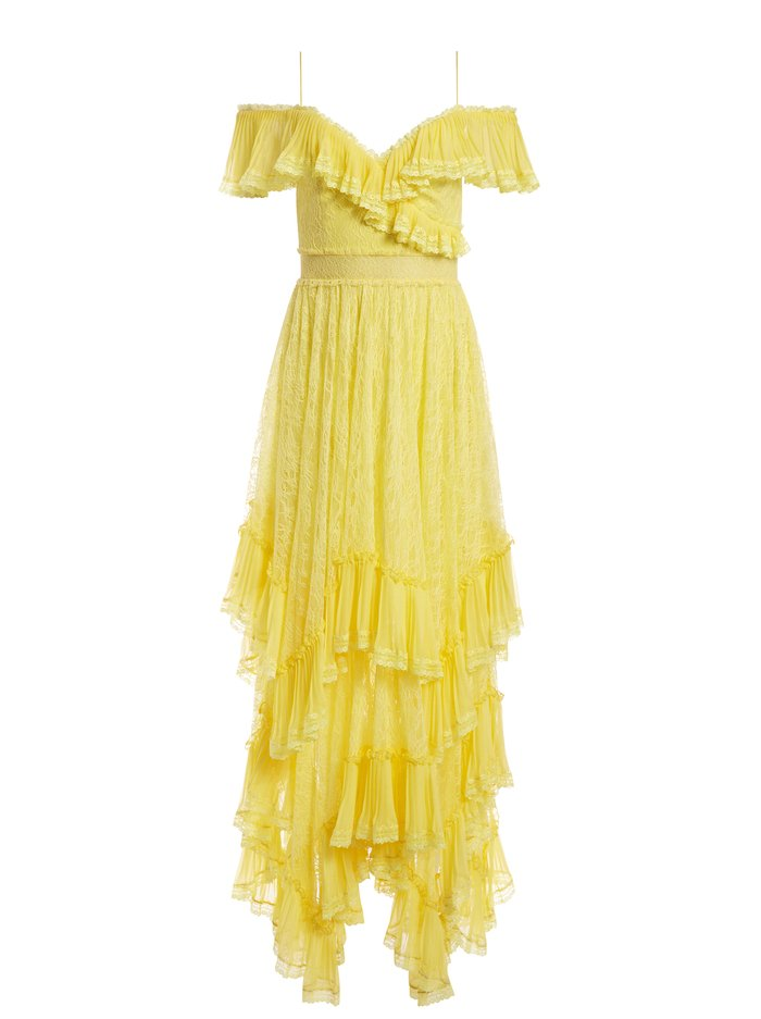HARPER COLD SHOULDER MAXI DRESS - DAFFODIL - Alice And Olivia