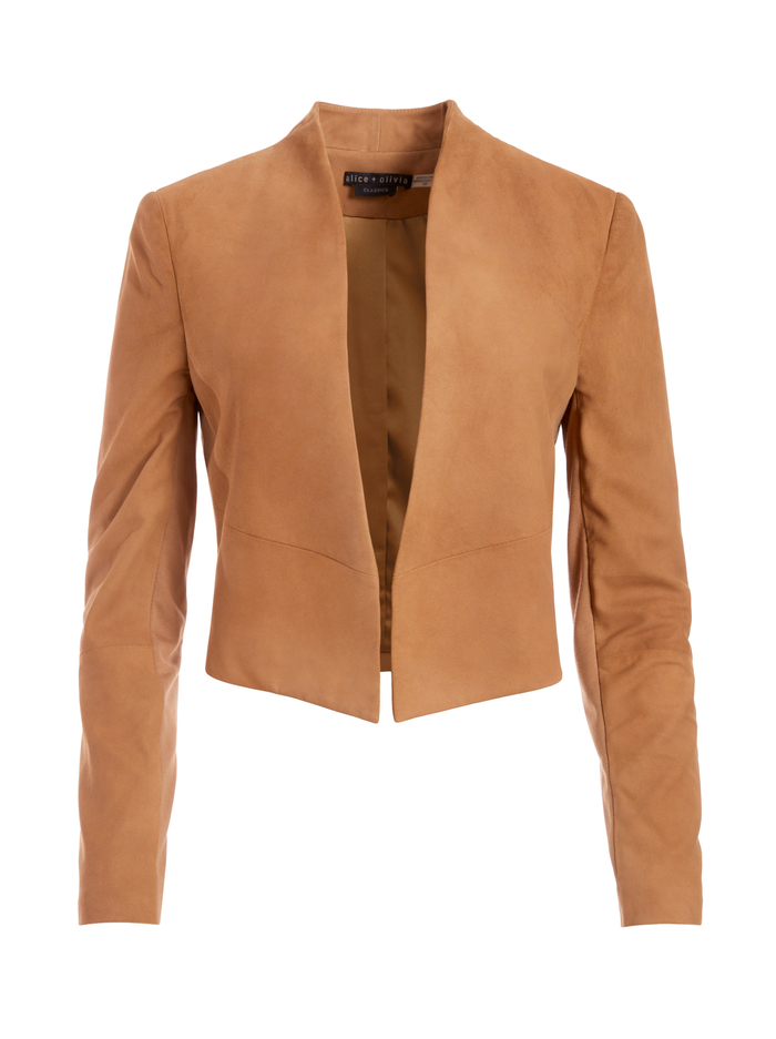 HARVEY SUEDE JACKET - CAMEL - Alice And Olivia