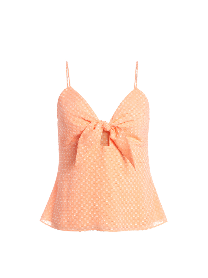 ROE TIE FRONT TANK - LIGHT PEACH - Alice And Olivia