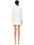 KYLIE VEGAN LEATHER SHAWL COLLAR BLAZER - OFF WHITE