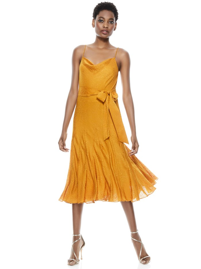 WEBBER TIE WAIST MIDI DRESS - AUTUMN GOLD - Alice And Olivia