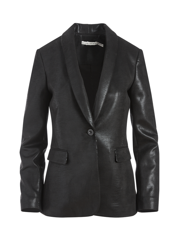 MACEY VEGAN LEATHER BLAZER - BLACK - Alice And Olivia