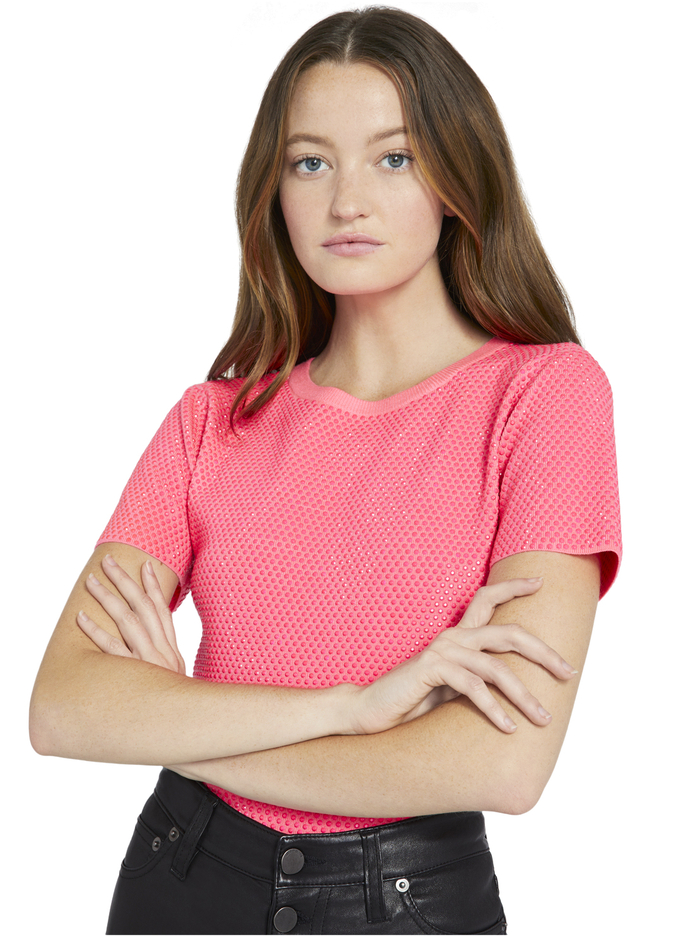 CIARA CRYSTAL PULLOVER - NEON PINK - Alice And Olivia