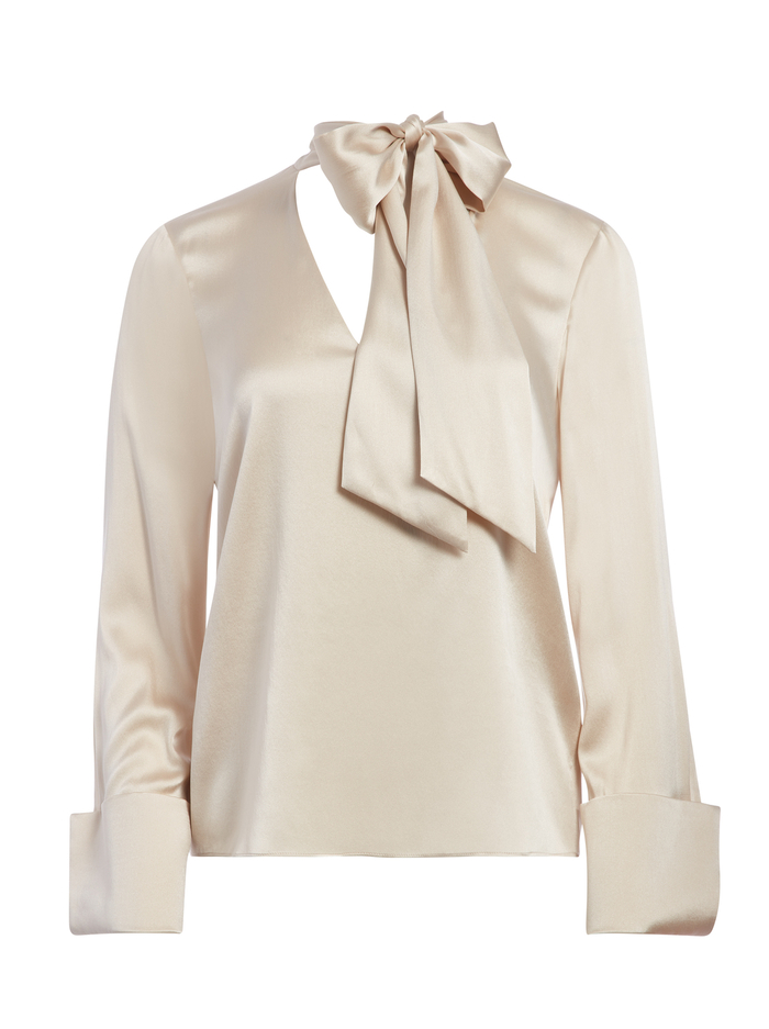 ROSINA TIE NECK BLOUSE - TAUPE - Alice And Olivia