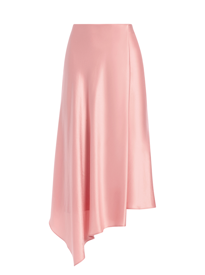 JAYLA DRAPE SLIT MIDI SKIRT - ROSE - Alice And Olivia