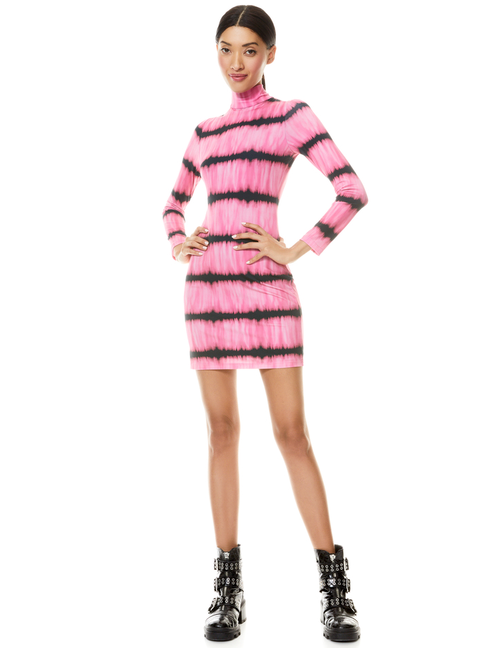 DELORA MOCK NECK MINI DRESS - WASHED TIE DYE PINK - Alice And Olivia