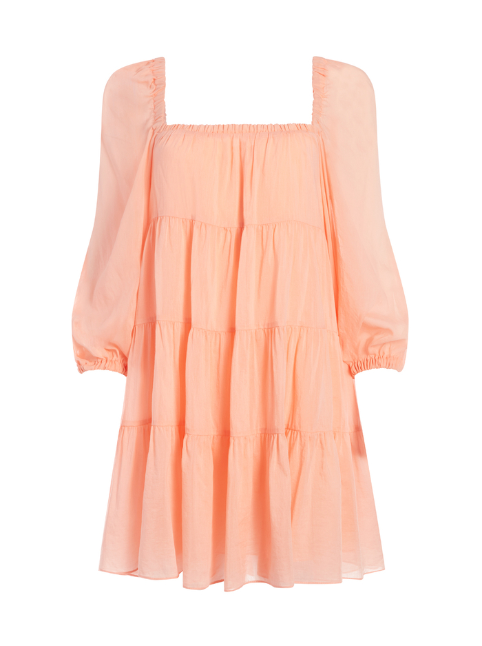 ROWEN TIERED MINI DRESS - LIGHT PEACH - Alice And Olivia
