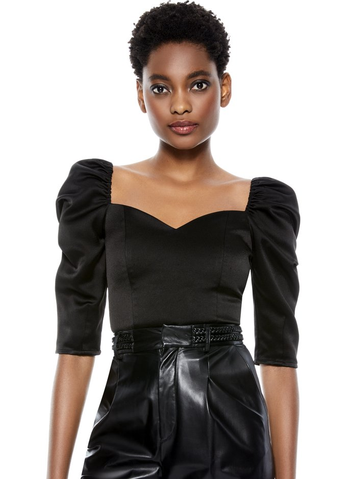 SOLANGE PUFF SLEEVE CROP TOP - BLACK - Alice And Olivia