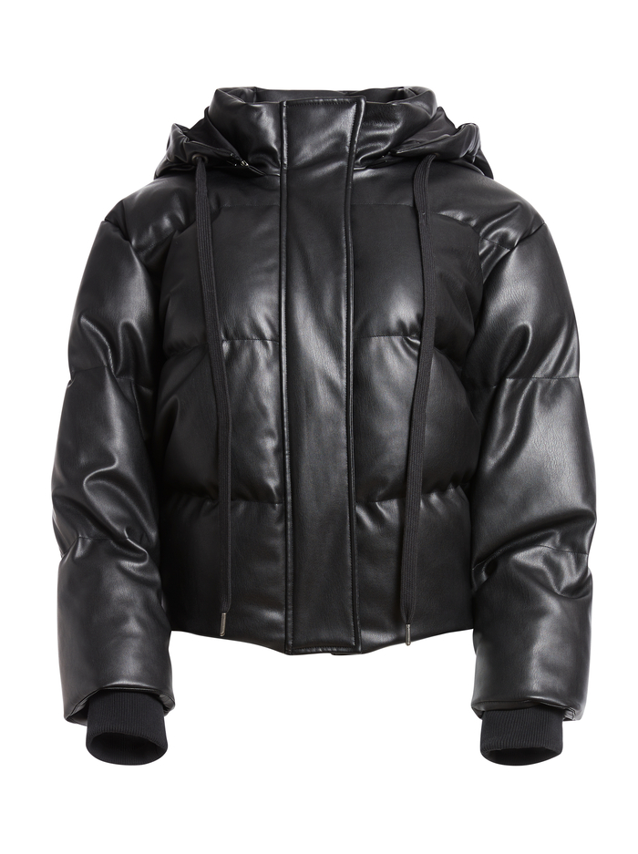 ROBINSON VEGAN LEATHER PUFFER - BLACK - Alice And Olivia