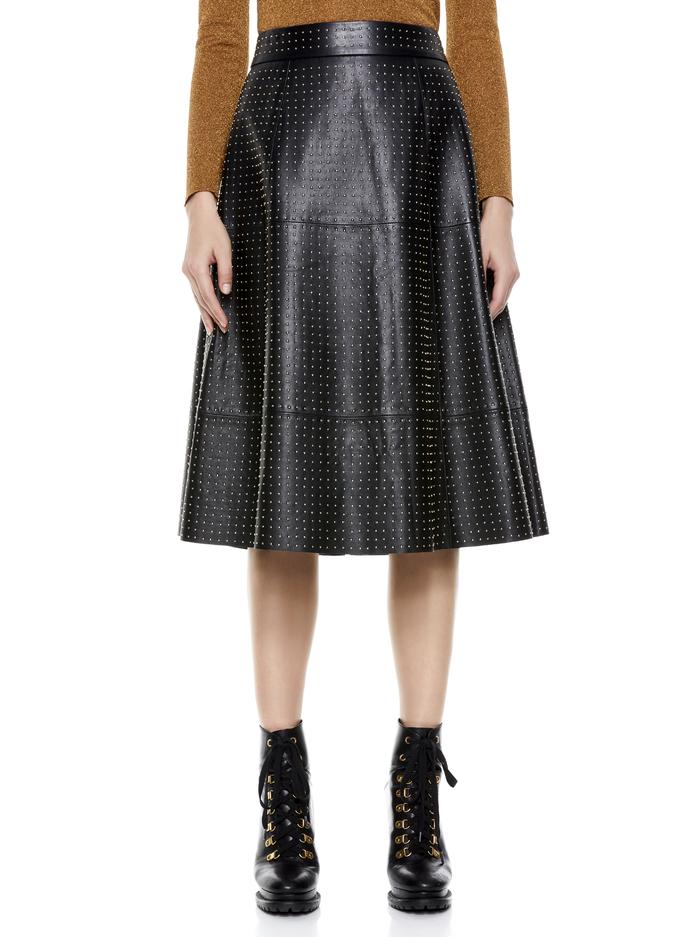 SOSIE STUDDED LEATHER MIDI SKIRT - BLACK/PALE GOLD - Alice And Olivia