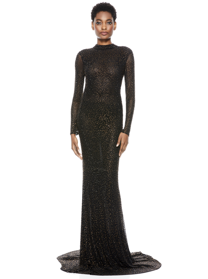 DELORA EMBELLISHED GOWN - BLACK/DARK BROWN - Alice And Olivia