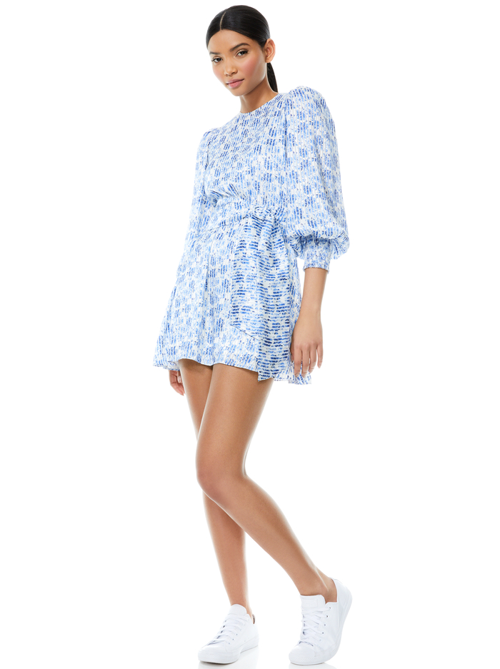 MOLLI BELTED FLORAL MINI DRESS - FORGET ME NOT SM ANTIQUE WHITE - Alice And Olivia
