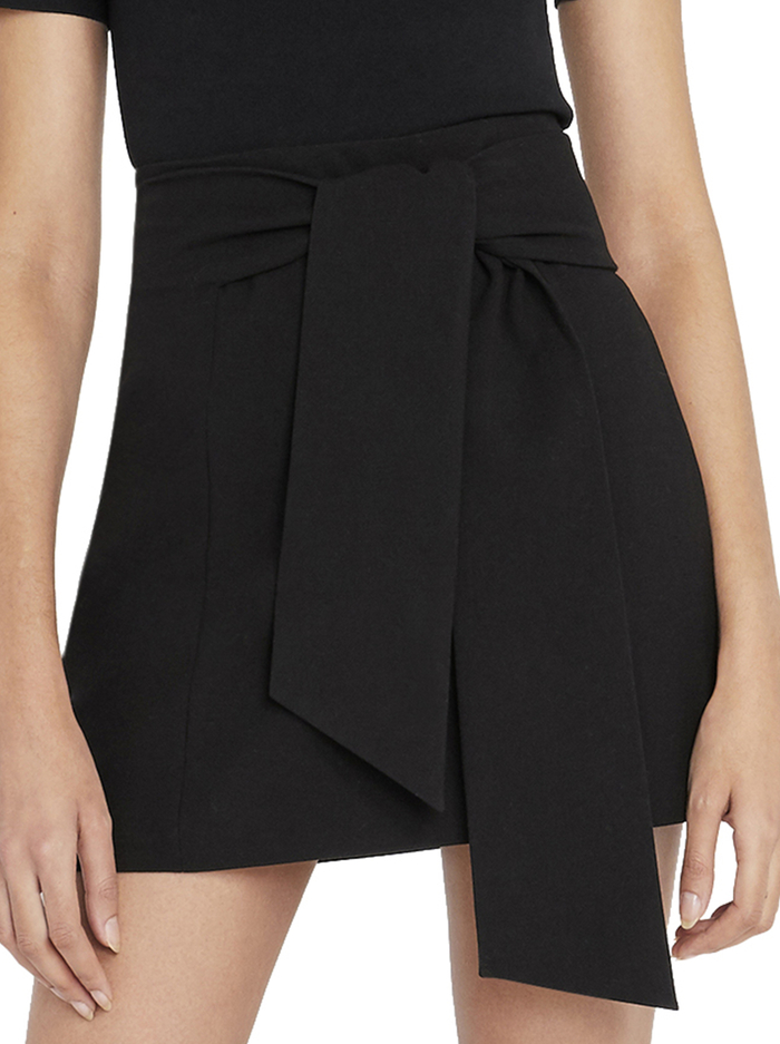 RIVA MINI SKIRT WITH TIE - BLACK - Alice And Olivia