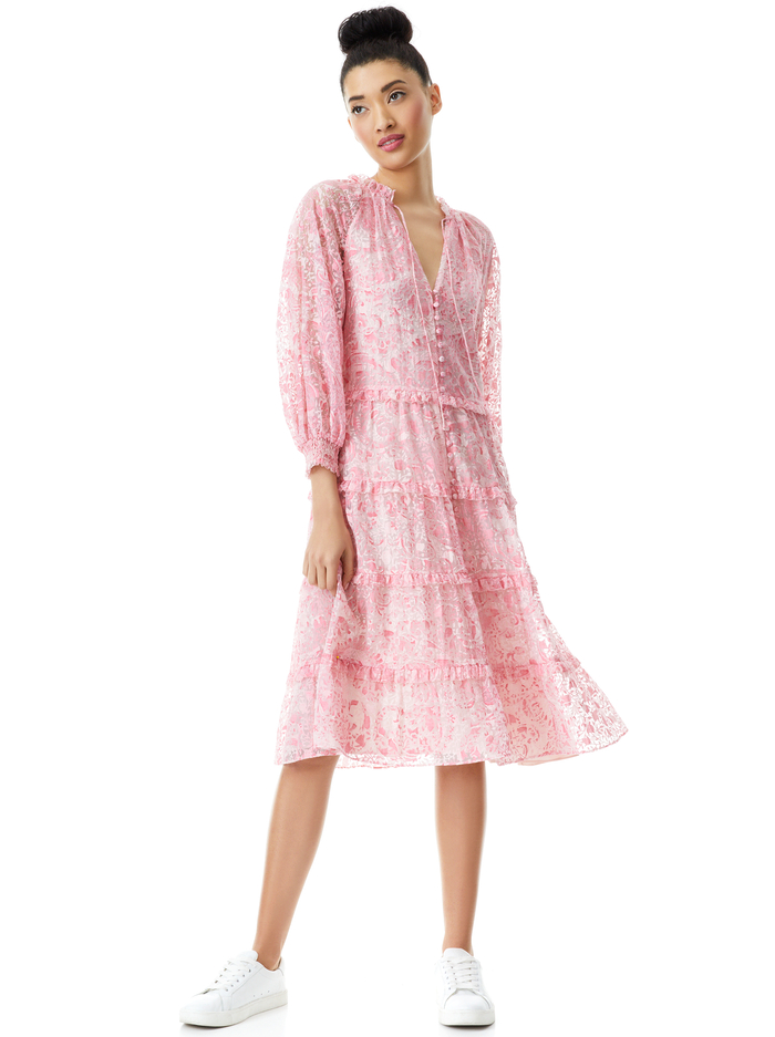 LAYLA BUTTON FRONT MIDI DRESS - FOREVER YOURS ENGLISH ROSE - Alice And Olivia